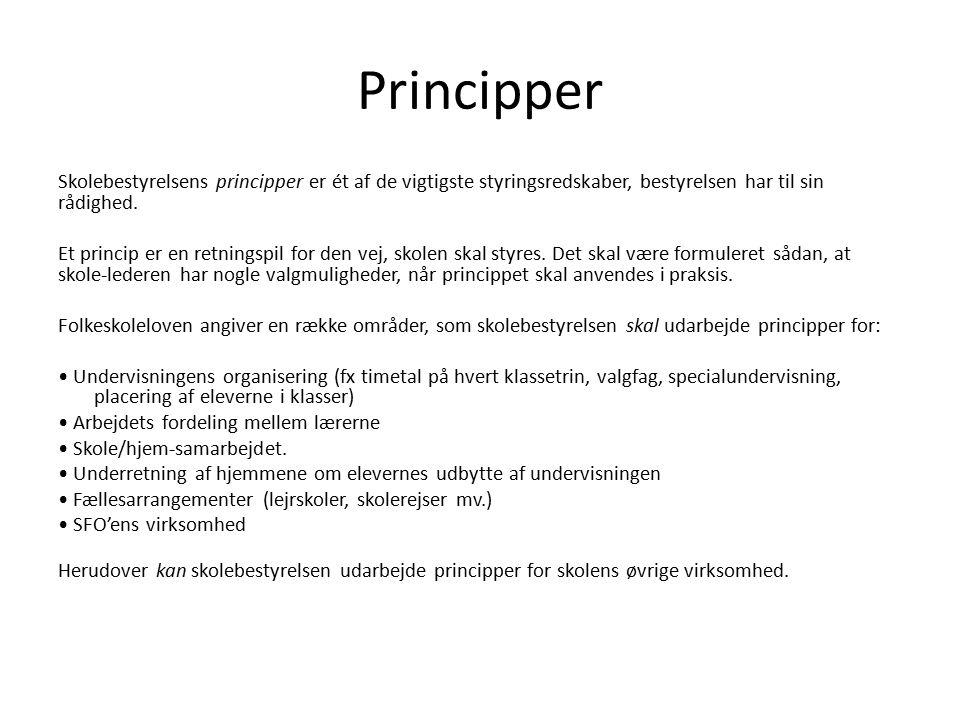 Principper Skolebestyrelsens principper er ét af de vigtigste styringsredskaber, bestyrelsen har til sin rådighed.