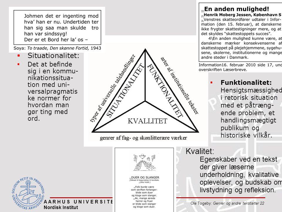  Situationalitet:  Det at befinde sig i en kommu- nikationssitua- tion med uni- versalpragmatis ke normer for hvordan man gør ting med ord.