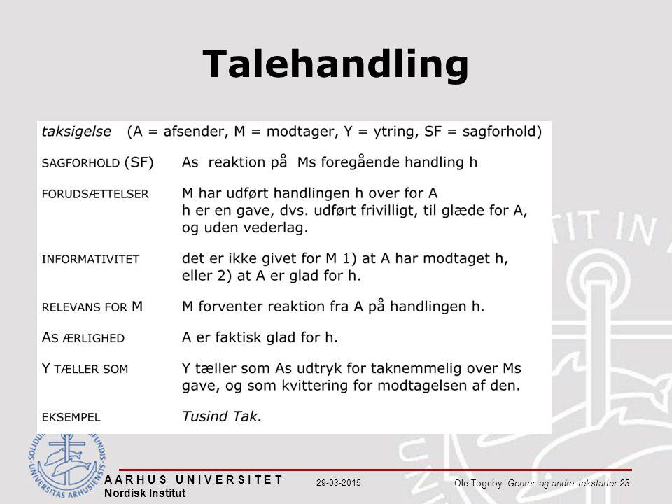 Talehandling A A R H U S U N I V E R S I T E T Nordisk Institut Ole Togeby: Genrer og andre tekstarter 23 29-03-2015