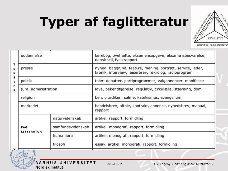 Typer af faglitteratur A A R H U S U N I V E R S I T E T Nordisk Institut Ole Togeby: Genrer og andre tekstarter 27 29-03-2015