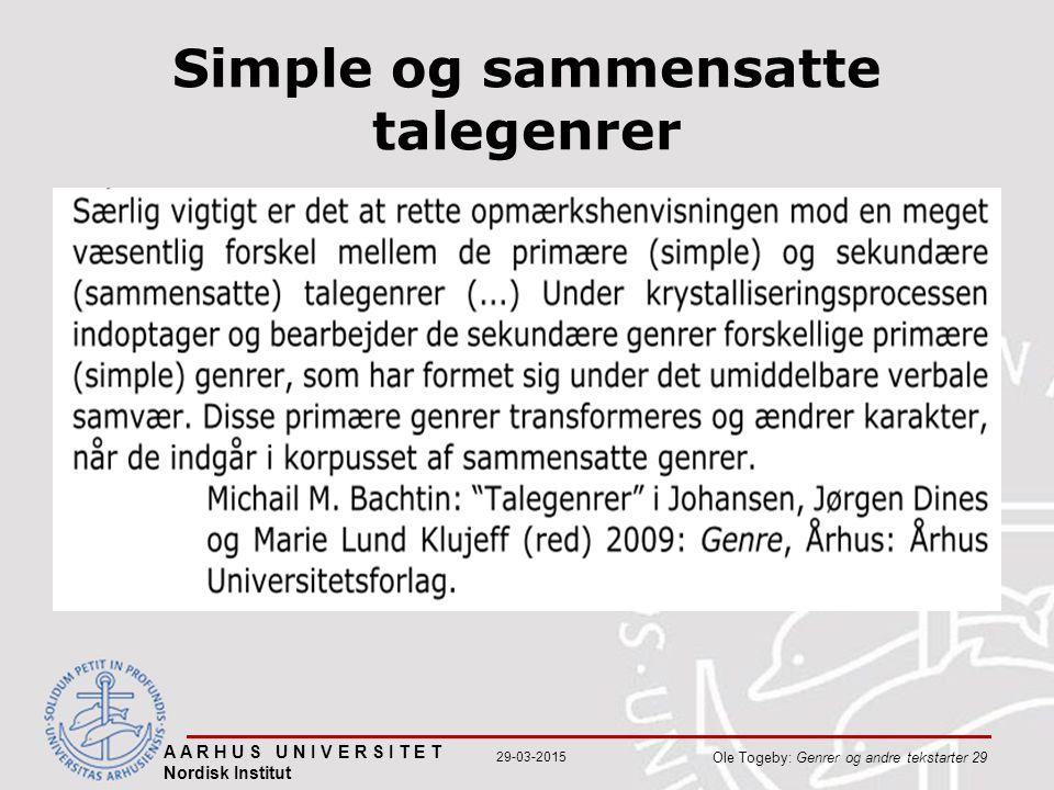 A A R H U S U N I V E R S I T E T Nordisk Institut Ole Togeby: Genrer og andre tekstarter 29 29-03-2015 Simple og sammensatte talegenrer