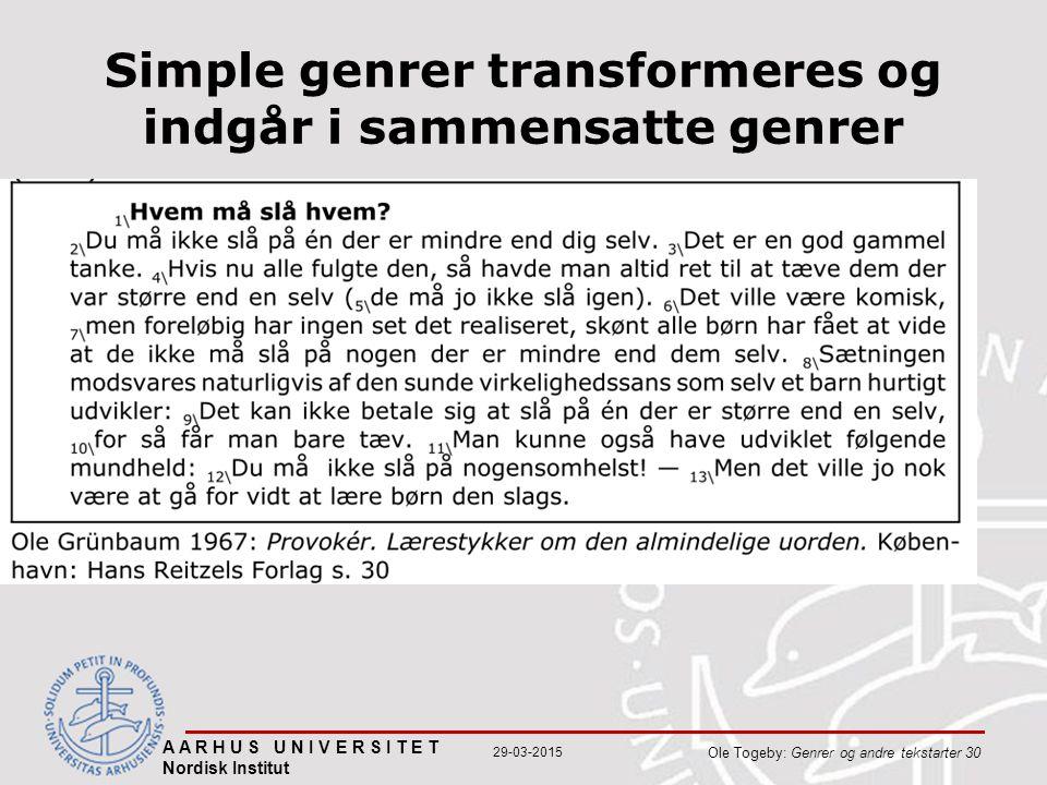A A R H U S U N I V E R S I T E T Nordisk Institut Ole Togeby: Genrer og andre tekstarter 30 29-03-2015 Simple genrer transformeres og indgår i sammensatte genrer