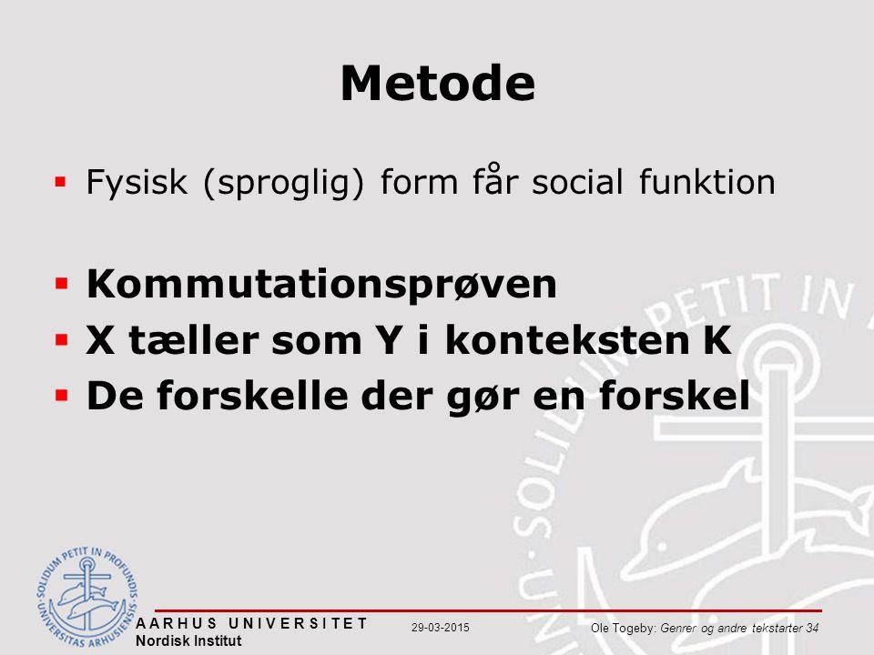 A A R H U S U N I V E R S I T E T Nordisk Institut Ole Togeby: Genrer og andre tekstarter 34 29-03-2015 Metode  Fysisk (sproglig) form får social funktion  Kommutationsprøven  X tæller som Y i konteksten K  De forskelle der gør en forskel