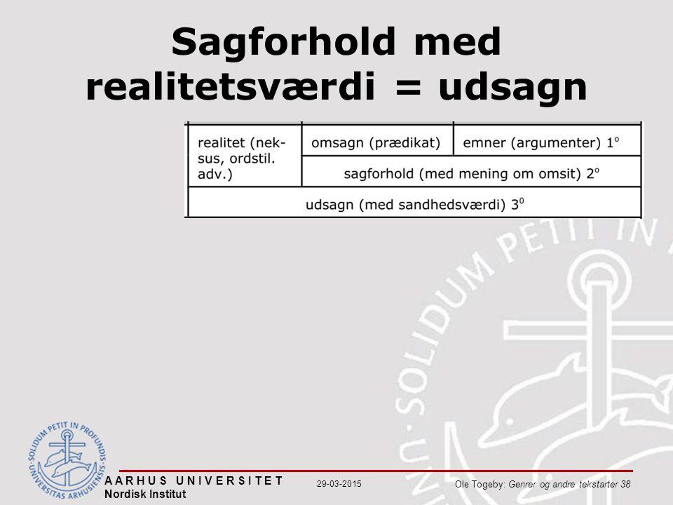 Sagforhold med realitetsværdi = udsagn A A R H U S U N I V E R S I T E T Nordisk Institut Ole Togeby: Genrer og andre tekstarter 38 29-03-2015