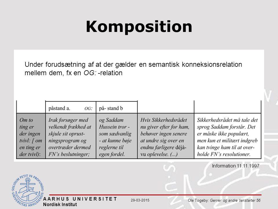 A A R H U S U N I V E R S I T E T Nordisk Institut Ole Togeby: Genrer og andre tekstarter 56 29-03-2015 Komposition Information 11.11.1997 Under forudsætning af at der gælder en semantisk konneksionsrelation mellem dem, fx en OG: -relation