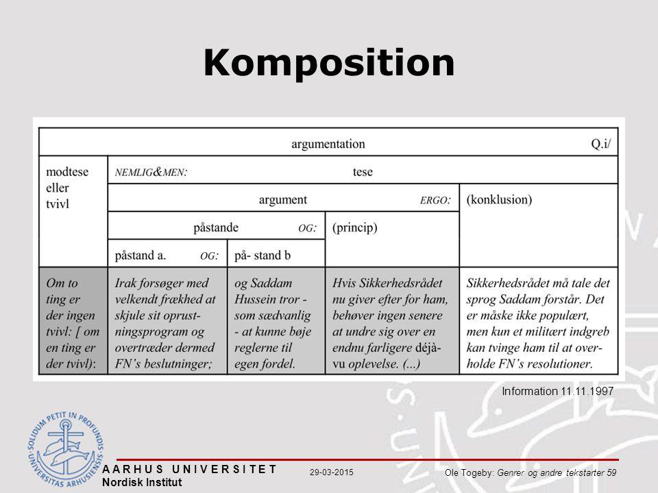 A A R H U S U N I V E R S I T E T Nordisk Institut Ole Togeby: Genrer og andre tekstarter 59 29-03-2015 Komposition Information 11.11.1997