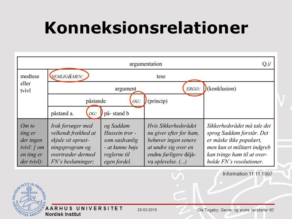 A A R H U S U N I V E R S I T E T Nordisk Institut Ole Togeby: Genrer og andre tekstarter 60 29-03-2015 Konneksionsrelationer Information 11.11.1997