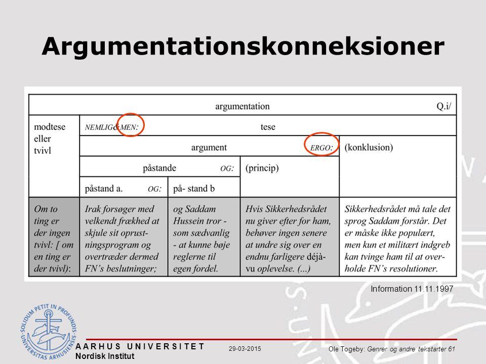 A A R H U S U N I V E R S I T E T Nordisk Institut Ole Togeby: Genrer og andre tekstarter 61 29-03-2015 Argumentationskonneksioner Information 11.11.1997