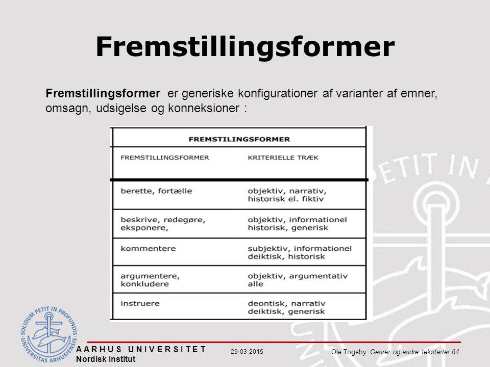 A A R H U S U N I V E R S I T E T Nordisk Institut Ole Togeby: Genrer og andre tekstarter 64 29-03-2015 Fremstillingsformer Fremstillingsformer er generiske konfigurationer af varianter af emner, omsagn, udsigelse og konneksioner :