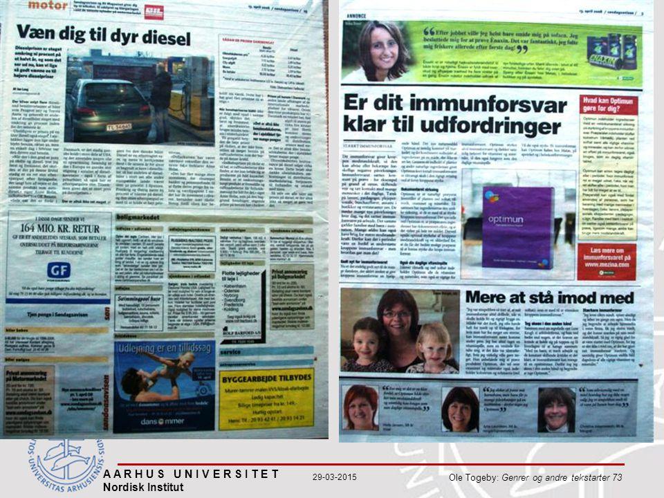 A A R H U S U N I V E R S I T E T Nordisk Institut Ole Togeby: Genrer og andre tekstarter 73 29-03-2015