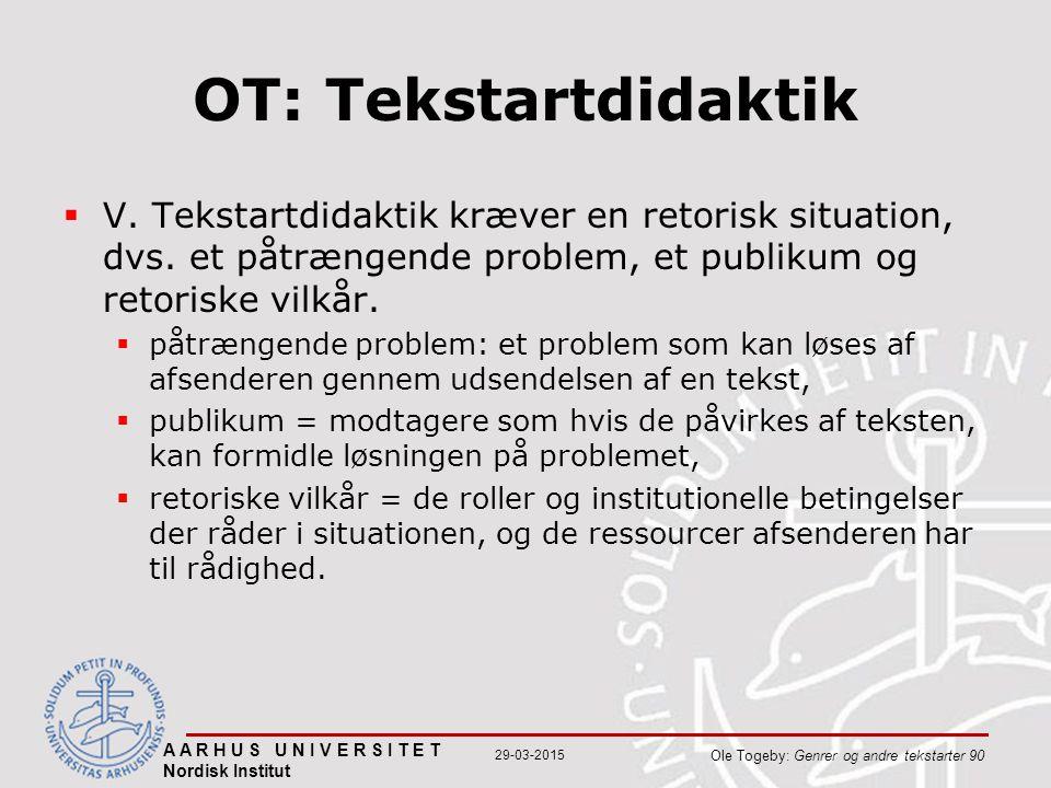 A A R H U S U N I V E R S I T E T Nordisk Institut Ole Togeby: Genrer og andre tekstarter 90 29-03-2015 OT: Tekstartdidaktik  V.