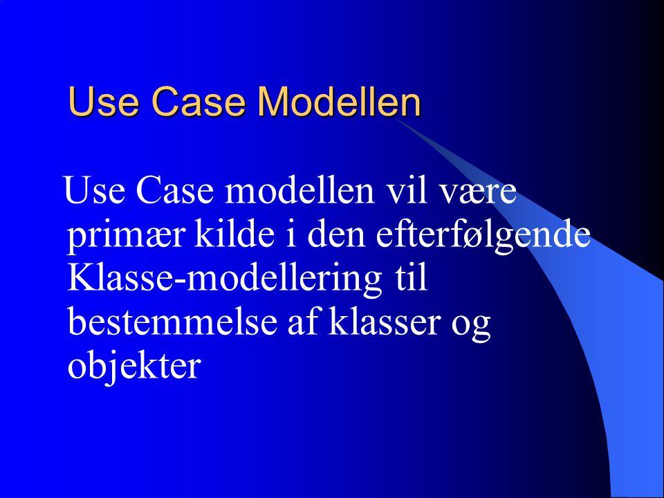 Use Case Modellen Use Case modellen vil være primær kilde i den efterfølgende Klasse-modellering til bestemmelse af klasser og objekter