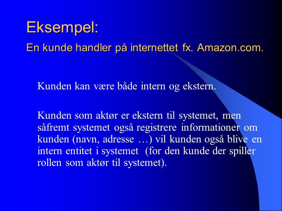 Eksempel: En kunde handler på internettet fx. Amazon.com.