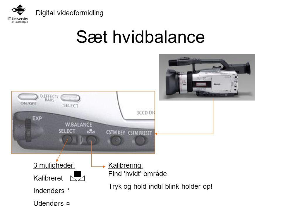 Digital videoformidling Sæt hvidbalance 3 muligheder: Kalibreret Indendørs * Udendørs ¤ Kalibrering: Find 'hvidt' område Tryk og hold indtil blink holder op!