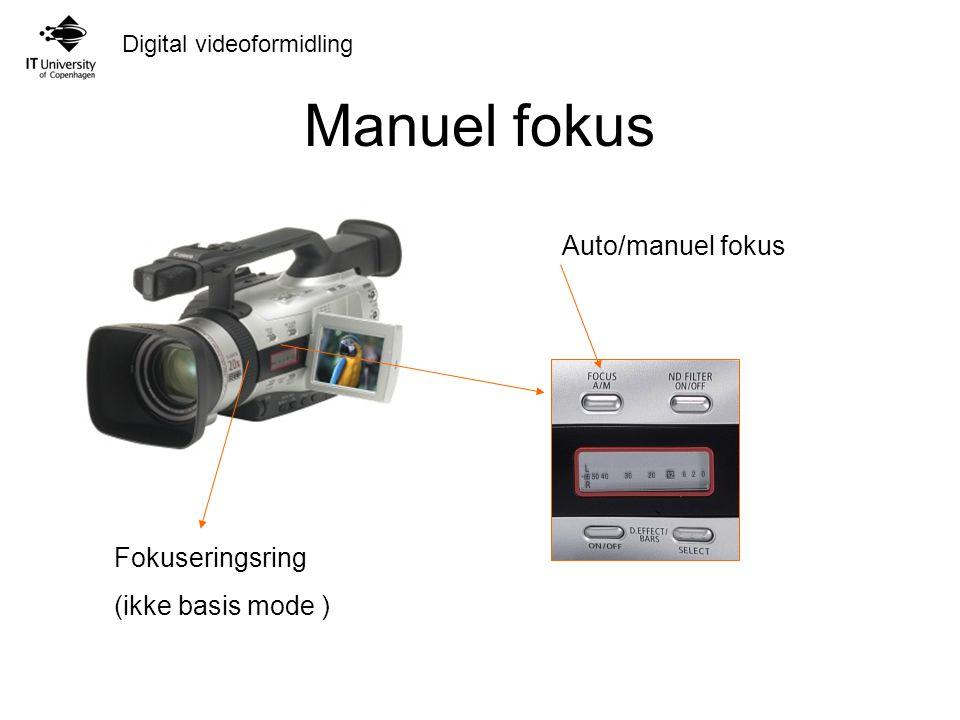 Digital videoformidling Manuel fokus Auto/manuel fokus Fokuseringsring (ikke basis mode )