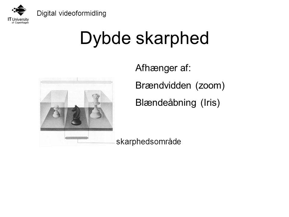 Digital videoformidling Dybde skarphed skarphedsområde Afhænger af: Brændvidden (zoom) Blændeåbning (Iris)