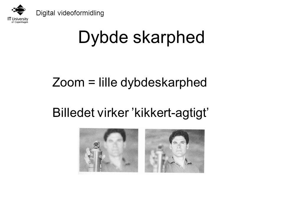 Digital videoformidling Dybde skarphed Zoom = lille dybdeskarphed Billedet virker 'kikkert-agtigt'