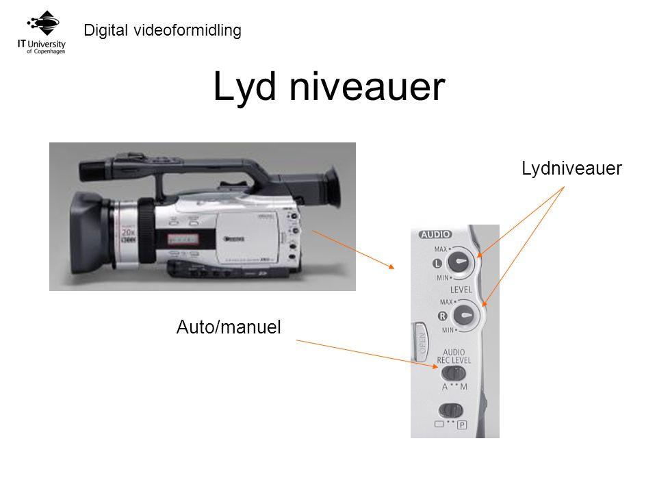 Digital videoformidling Lyd niveauer Auto/manuel
