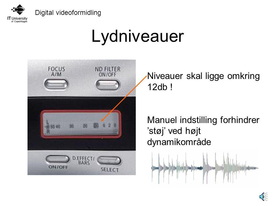 Digital videoformidling Lydniveauer Niveauer skal ligge omkring 12db .