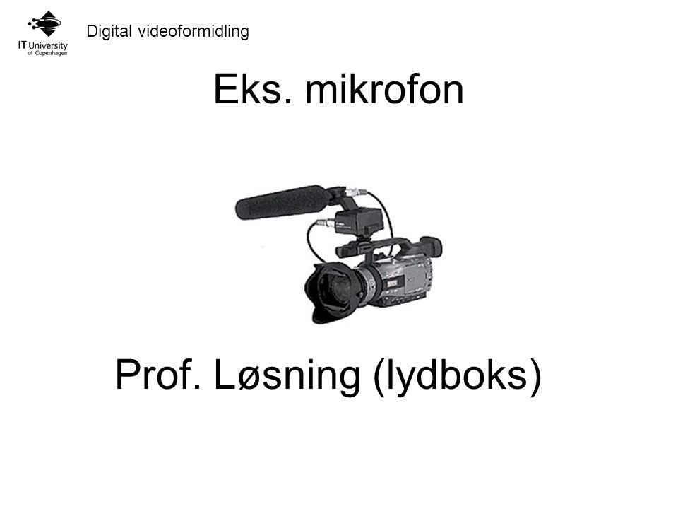 Digital videoformidling Eks. mikrofon Prof. Løsning (lydboks)