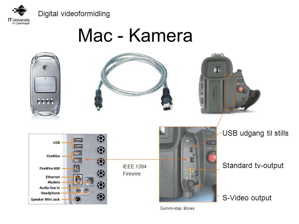 Digital videoformidling USB udgang til stills Standard tv-output S-Video output Gummi-klap åbnes IEEE 1394 Firewire Mac - Kamera