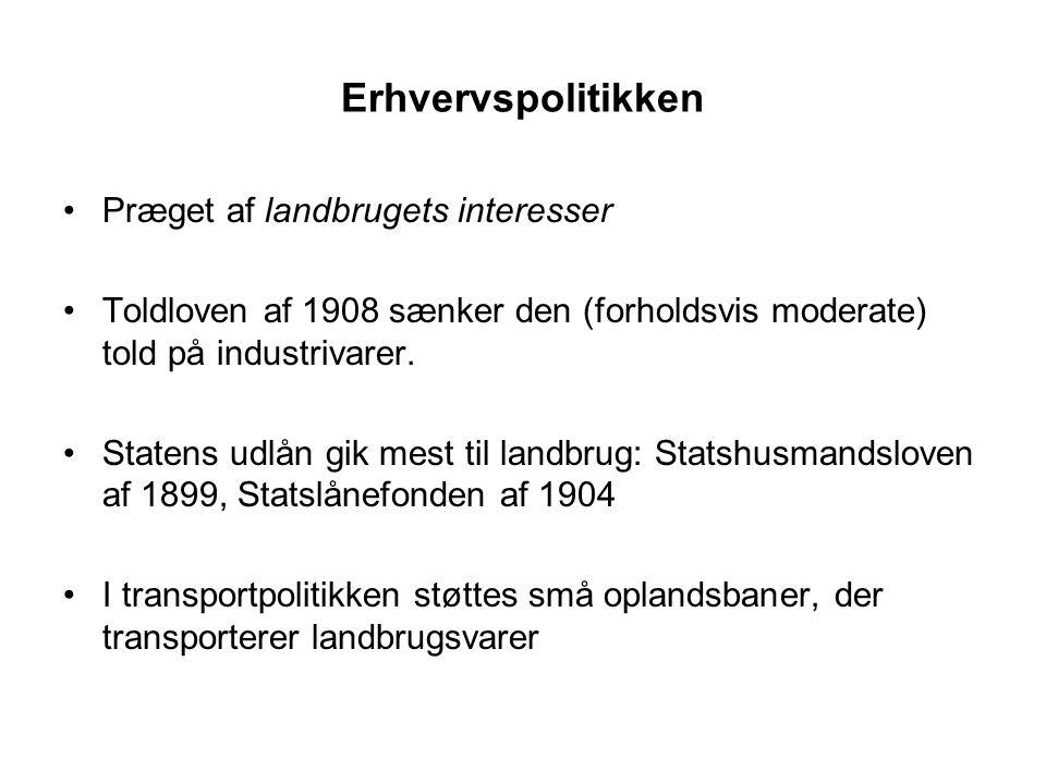 Erhvervspolitikken Præget af landbrugets interesser Toldloven af 1908 sænker den (forholdsvis moderate) told på industrivarer.