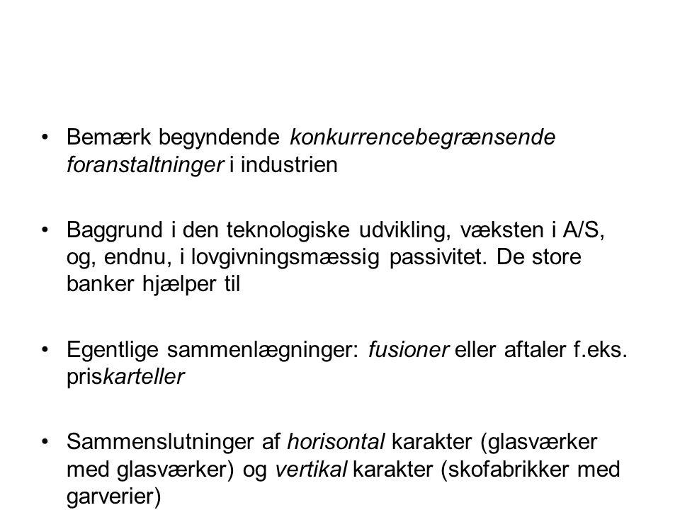 Bemærk begyndende konkurrencebegrænsende foranstaltninger i industrien Baggrund i den teknologiske udvikling, væksten i A/S, og, endnu, i lovgivningsmæssig passivitet.