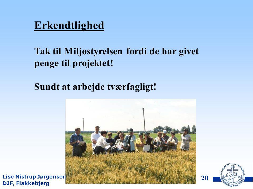 DJF, Flakkebjerg Lise Nistrup Jørgensen 19 Konklusioner PVO passer ikke i den måde mange landmænd tager beslutning på Synd hvis planteavlere dumper PVO, fordi der er meget nyttig information at hente!.