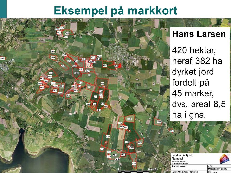 Eksempel på markkort Hans Larsen 420 hektar, heraf 382 ha dyrket jord fordelt på 45 marker, dvs.