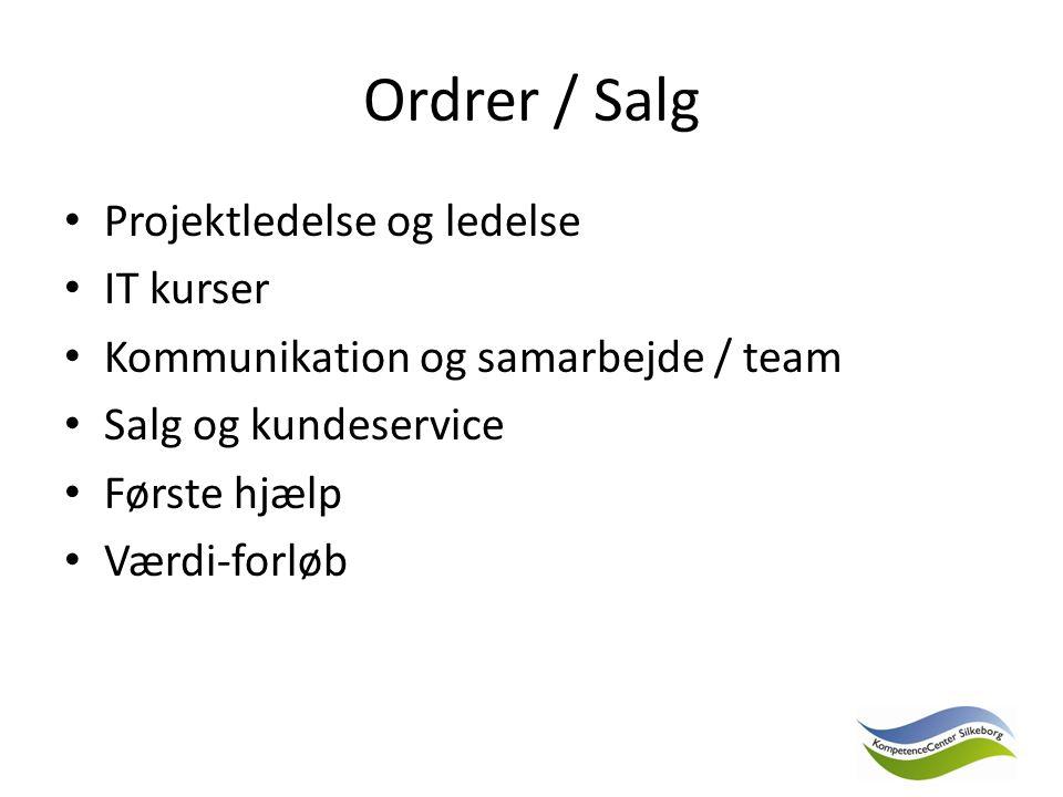 Ordrer / Salg Projektledelse og ledelse IT kurser Kommunikation og samarbejde / team Salg og kundeservice Første hjælp Værdi-forløb