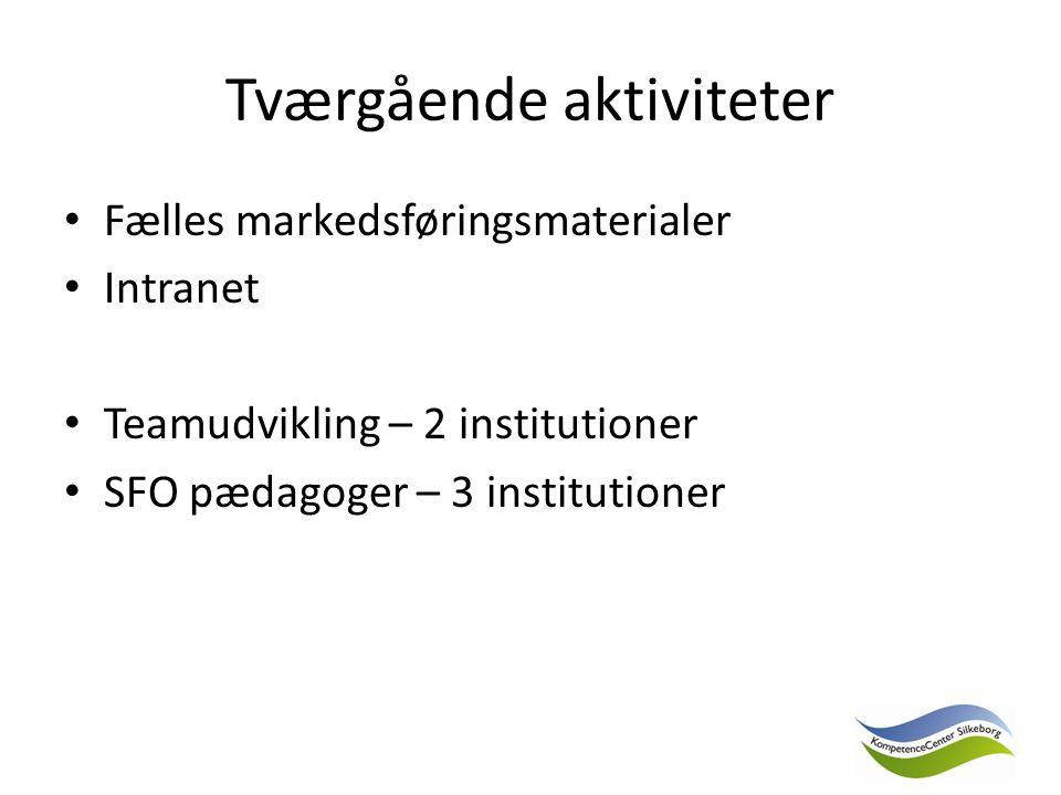 Tværgående aktiviteter Fælles markedsføringsmaterialer Intranet Teamudvikling – 2 institutioner SFO pædagoger – 3 institutioner