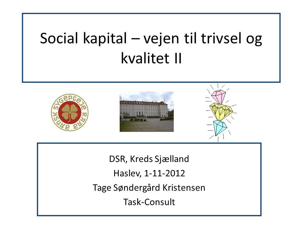 Social kapital – vejen til trivsel og kvalitet II DSR, Kreds Sjælland Haslev, 1-11-2012 Tage Søndergård Kristensen Task-Consult