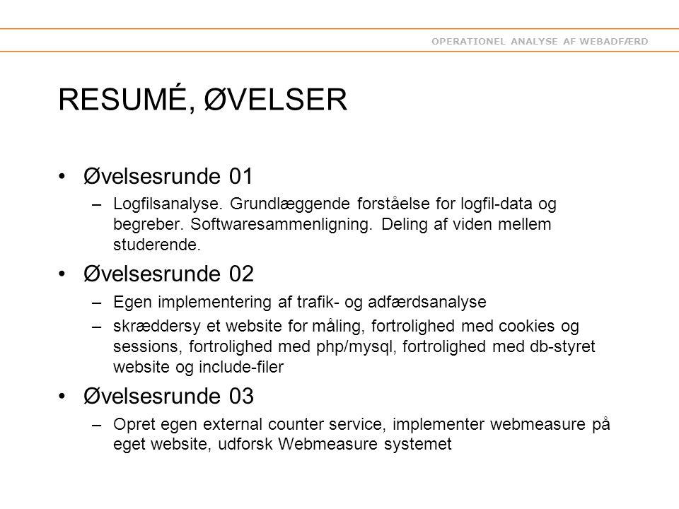 OPERATIONEL ANALYSE AF WEBADFÆRD RESUMÉ, ØVELSER Øvelsesrunde 01 –Logfilsanalyse.