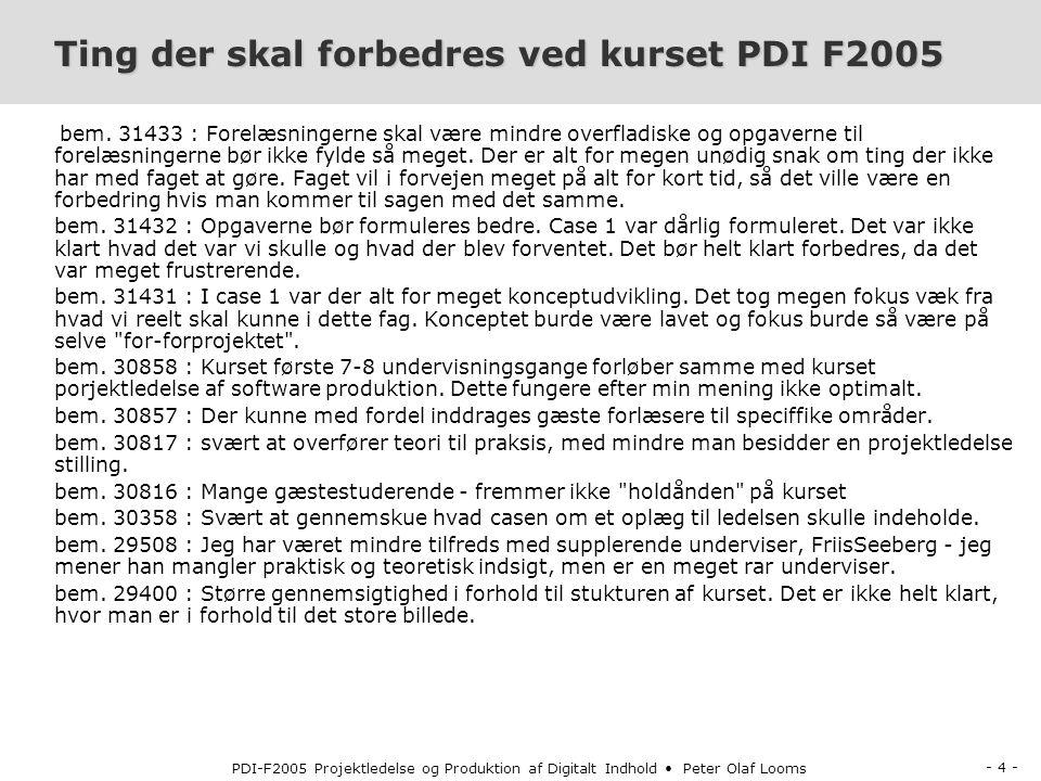 - 4 - PDI-F2005 Projektledelse og Produktion af Digitalt Indhold Peter Olaf Looms Ting der skal forbedres ved kurset PDI F2005 bem.