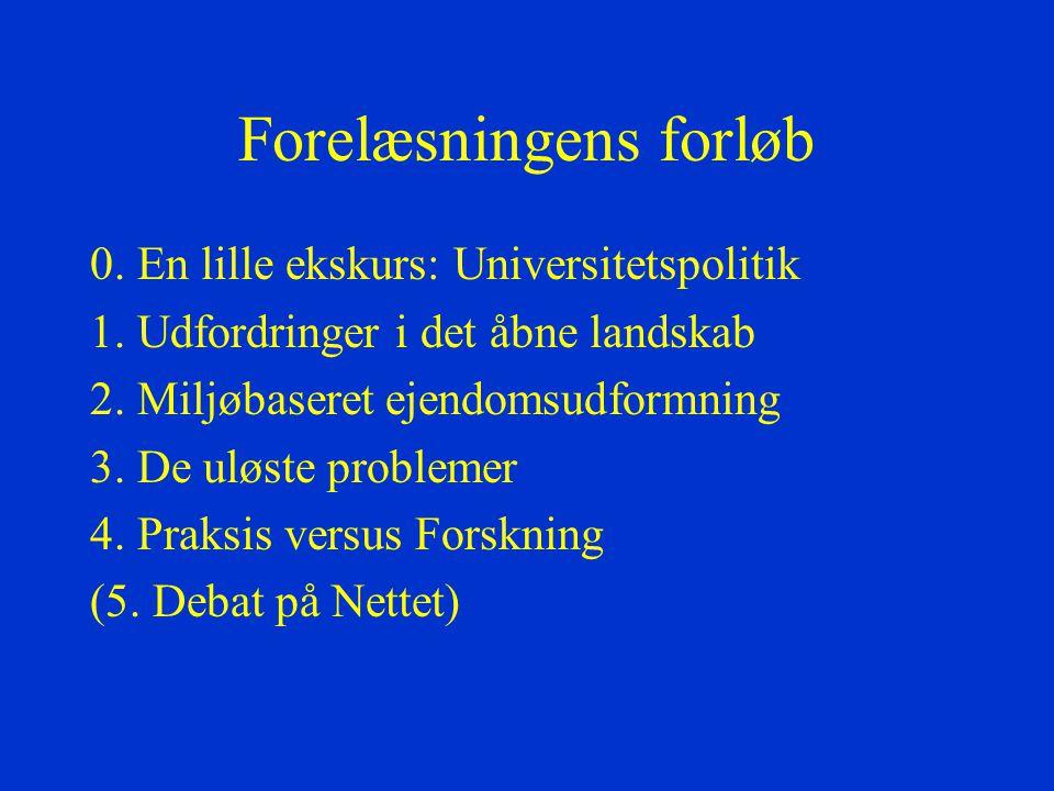 Forelæsningens forløb 0. En lille ekskurs: Universitetspolitik 1.