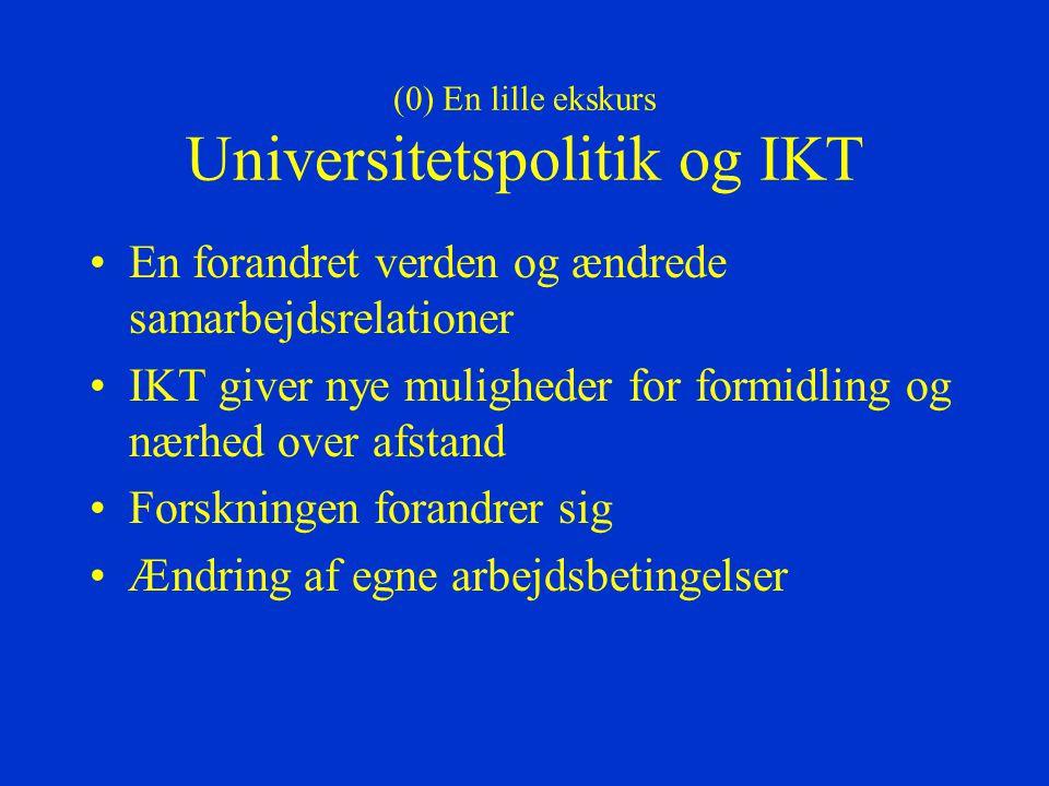 (0) En lille ekskurs Universitetspolitik og IKT En forandret verden og ændrede samarbejdsrelationer IKT giver nye muligheder for formidling og nærhed over afstand Forskningen forandrer sig Ændring af egne arbejdsbetingelser