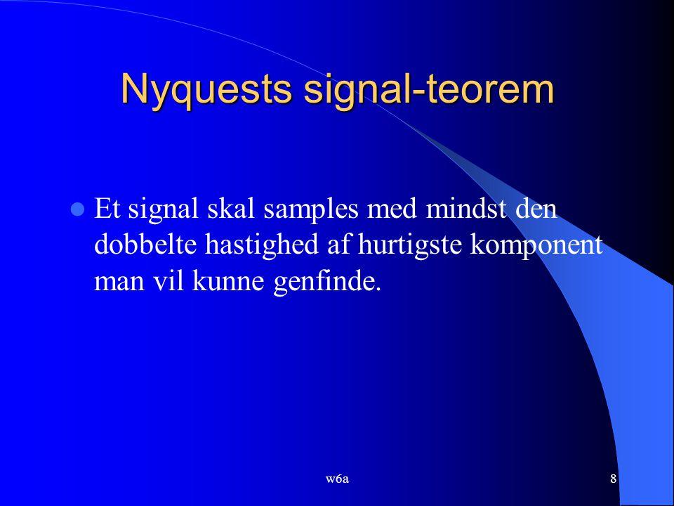8 Nyquests signal-teorem Et signal skal samples med mindst den dobbelte hastighed af hurtigste komponent man vil kunne genfinde.