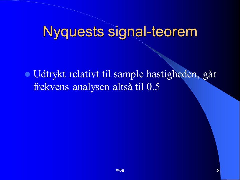 w6a9 Nyquests signal-teorem Udtrykt relativt til sample hastigheden, går frekvens analysen altså til 0.5