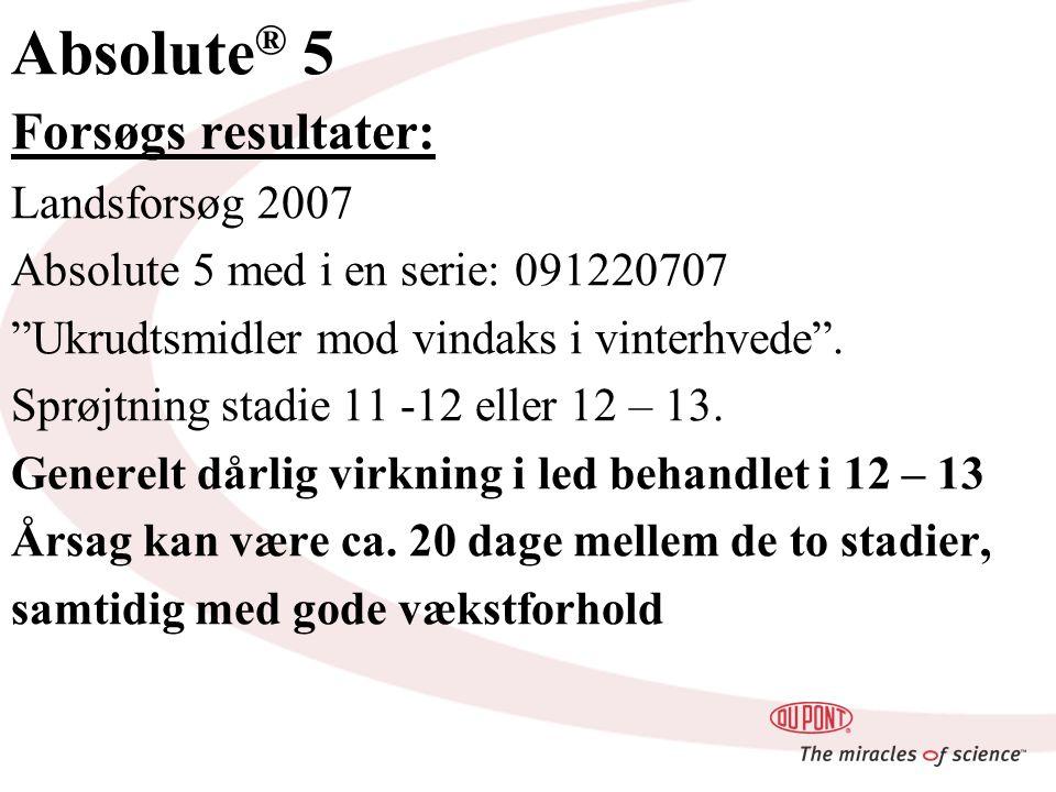 Absolute ® 5 Forsøgs resultater: Landsforsøg 2007 Absolute 5 med i en serie: 091220707 Ukrudtsmidler mod vindaks i vinterhvede .