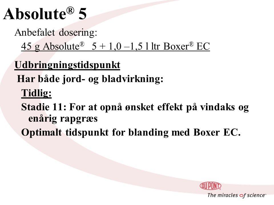 Absolute ® 5 Anbefalet dosering: 45 g Absolute ® 5 + 1,0 –1,5 l ltr Boxer ® EC Udbringningstidspunkt Har både jord- og bladvirkning: Tidlig: Stadie 11: For at opnå ønsket effekt på vindaks og enårig rapgræs Optimalt tidspunkt for blanding med Boxer EC.