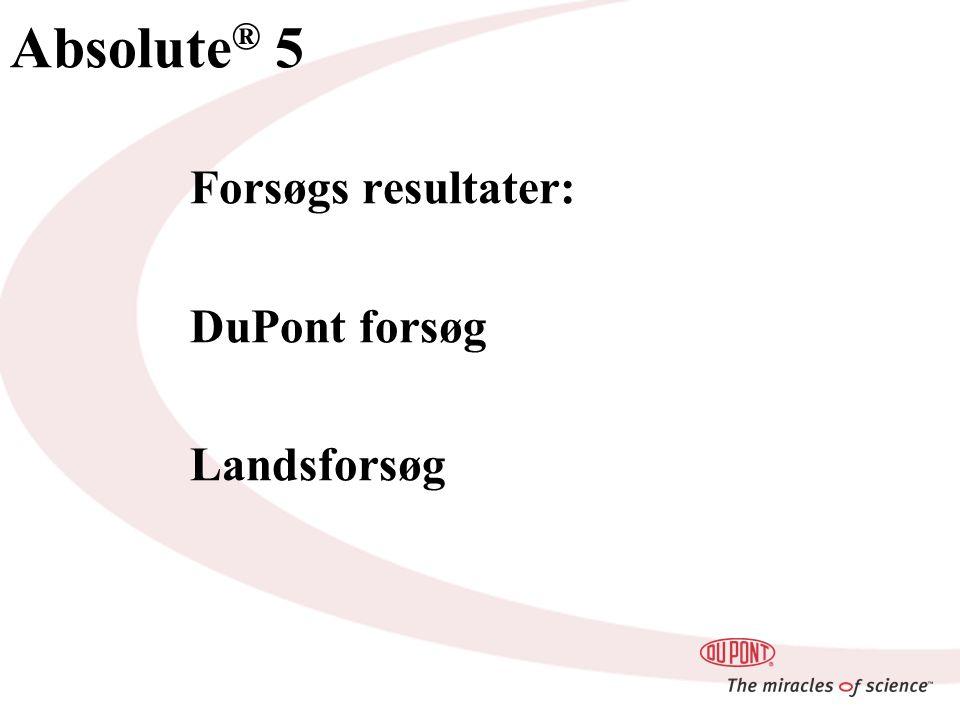 Absolute ® 5 Forsøgs resultater: DuPont forsøg Landsforsøg