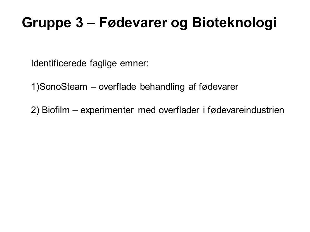Gruppe 3 – Fødevarer og Bioteknologi Identificerede faglige emner: 1)SonoSteam – overflade behandling af fødevarer 2) Biofilm – experimenter med overflader i fødevareindustrien
