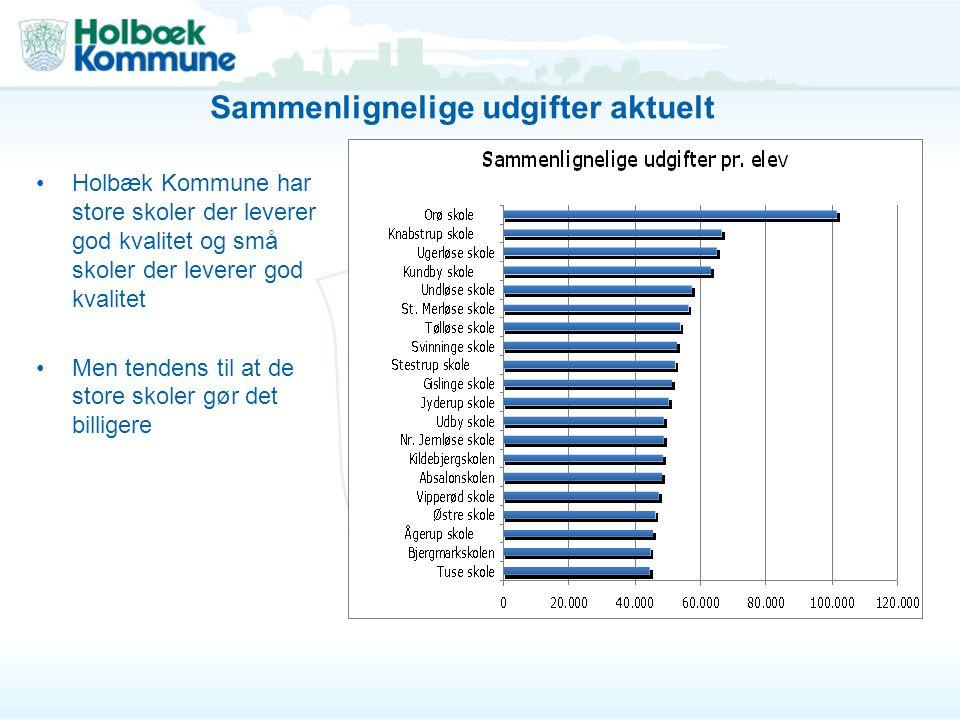 Holbæk Kommune har store skoler der leverer god kvalitet og små skoler der leverer god kvalitet Men tendens til at de store skoler gør det billigere Sammenlignelige udgifter aktuelt