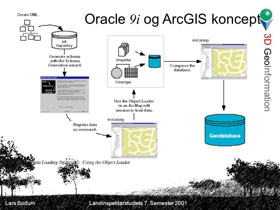 3D GeoInformation Lars Bodum Landinspektørstudiets 7. Semester 2001 Oracle 9i og ArcGIS koncept