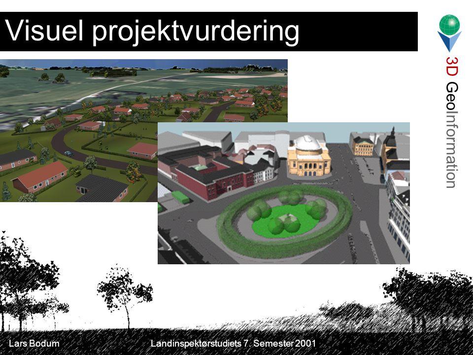 3D GeoInformation Lars Bodum Landinspektørstudiets 7. Semester 2001 Visuel projektvurdering