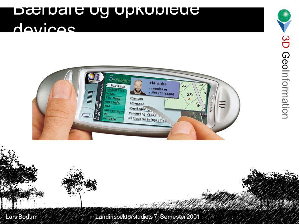 3D GeoInformation Lars Bodum Landinspektørstudiets 7. Semester 2001 Bærbare og opkoblede devices