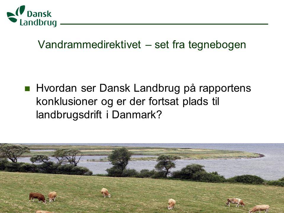 H:\EJO\Præsentationer\Vandramm.ppt 2 07.01.2008 Vandrammedirektivet – set fra tegnebogen Hvordan ser Dansk Landbrug på rapportens konklusioner og er der fortsat plads til landbrugsdrift i Danmark