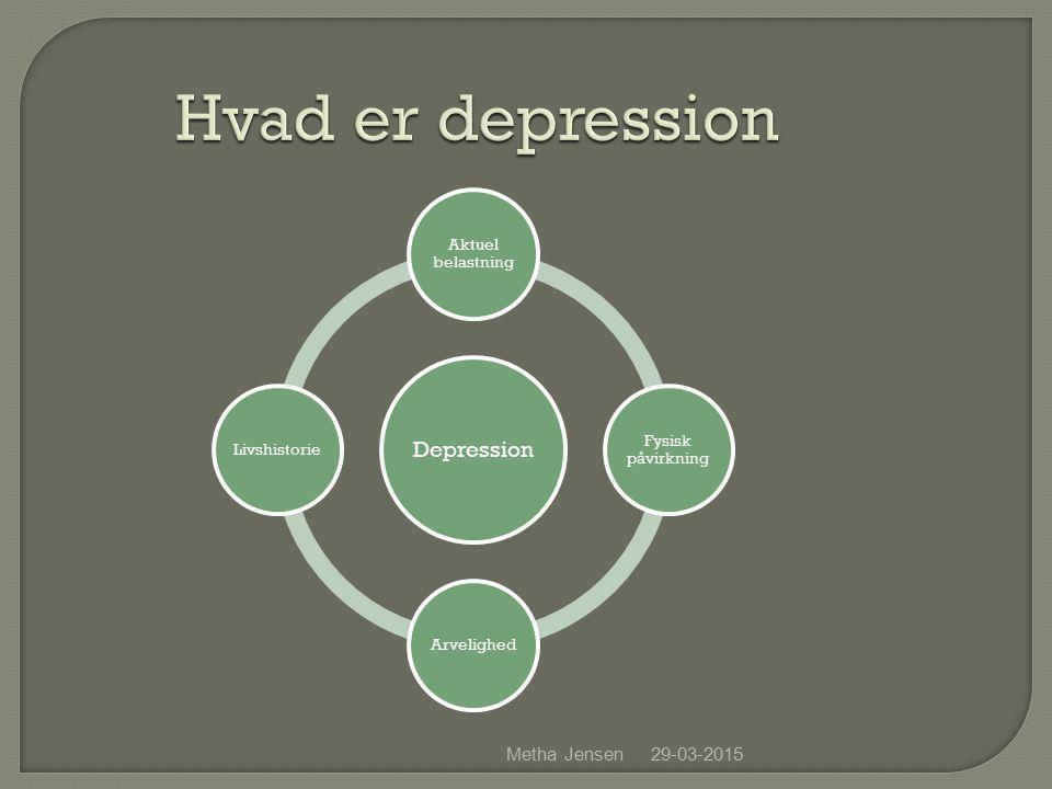 29-03-2015Metha Jensen Hvad er depression Depression Aktuel belastning Fysisk påvirkning ArvelighedLivshistorie