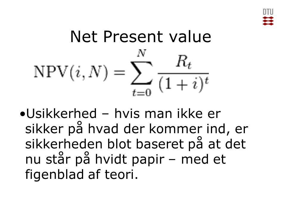 Add Presentation Title in Footer via Insert ; Header & Footer Net Present value Usikkerhed – hvis man ikke er sikker på hvad der kommer ind, er sikkerheden blot baseret på at det nu står på hvidt papir – med et figenblad af teori.