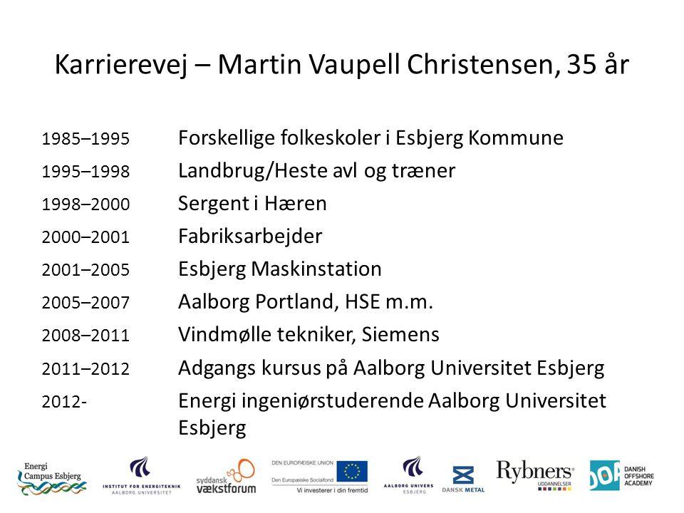 Karrierevej – Martin Vaupell Christensen, 35 år 1985–1995 Forskellige folkeskoler i Esbjerg Kommune 1995–1998 Landbrug/Heste avl og træner 1998–2000 Sergent i Hæren 2000–2001 Fabriksarbejder 2001–2005 Esbjerg Maskinstation 2005–2007 Aalborg Portland, HSE m.m.